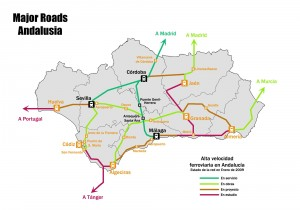 Major roads map of Andalusia