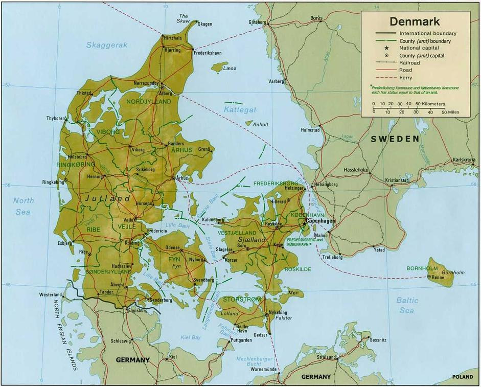 Map of Denmark | Map of Europe | Europe Map