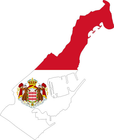 Flag of Monaco on Map