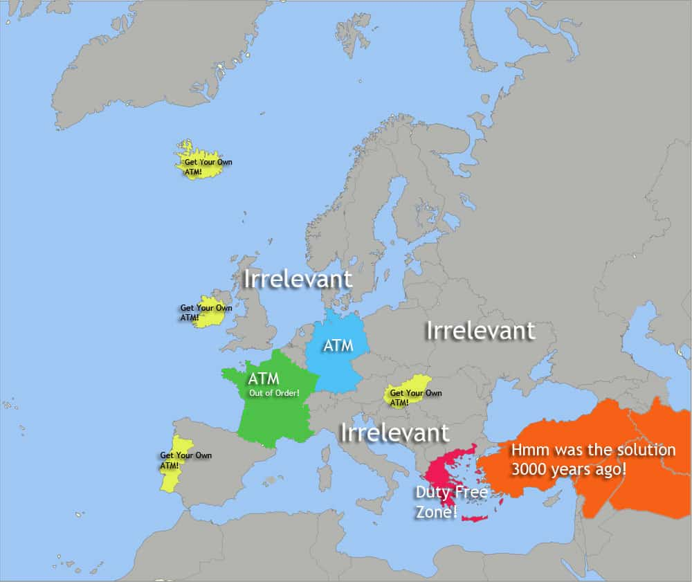 Map of How Greece views the rest of Europe
