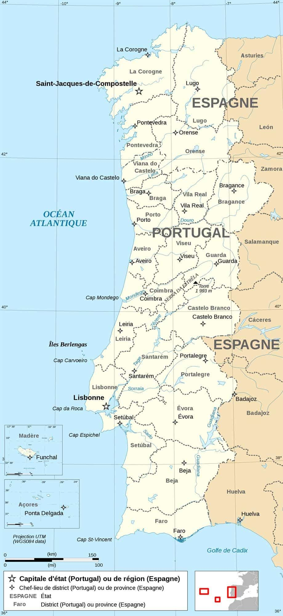 Image of: Map Of Portugal Map Of Europe Europe Map