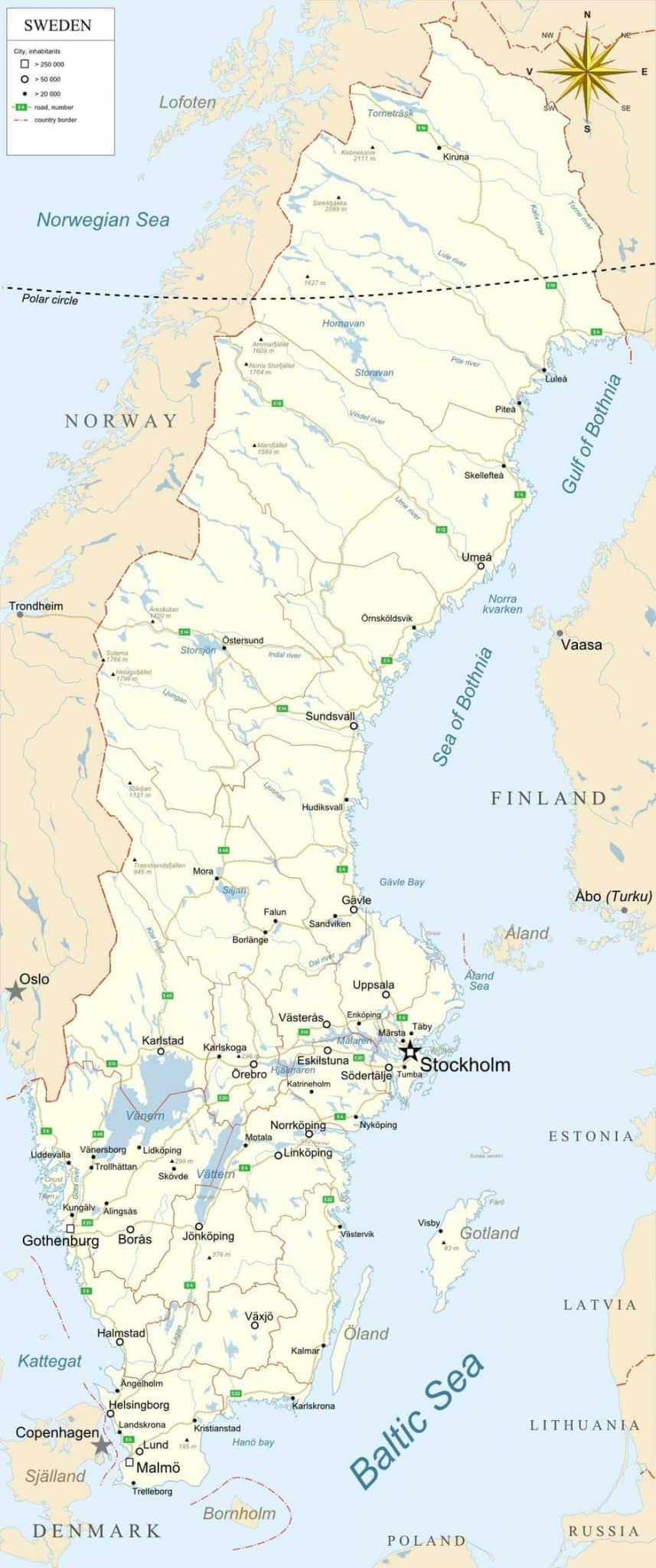 Map Of Sweden - Sweden map population