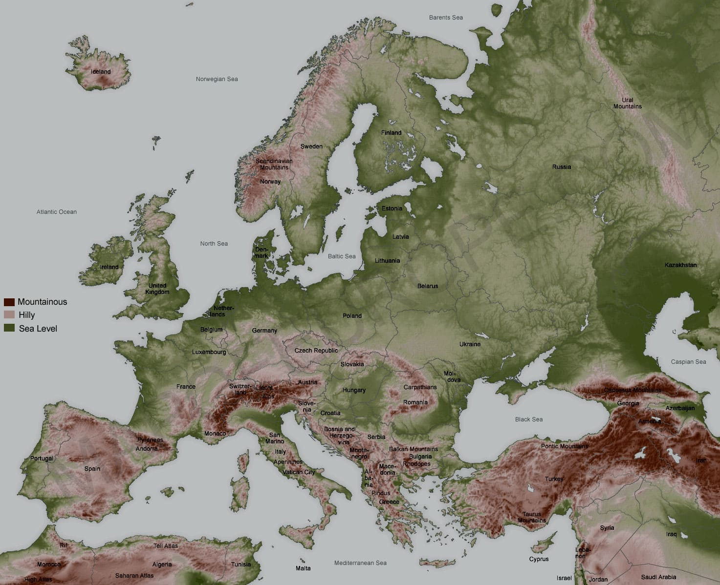 Topographical Map Of Europe