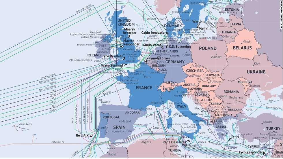 Map of European Undersea High Speed Cables