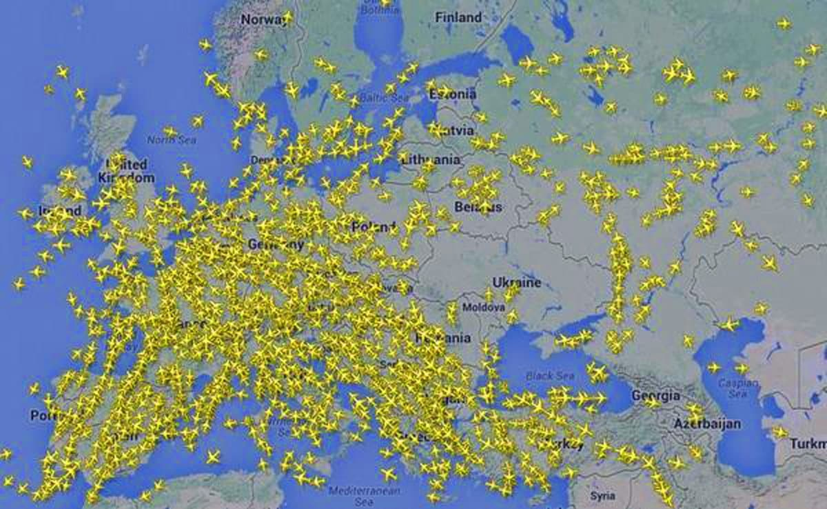 An amazing map of Europe showing aircraft getting out of Ukraine airspace