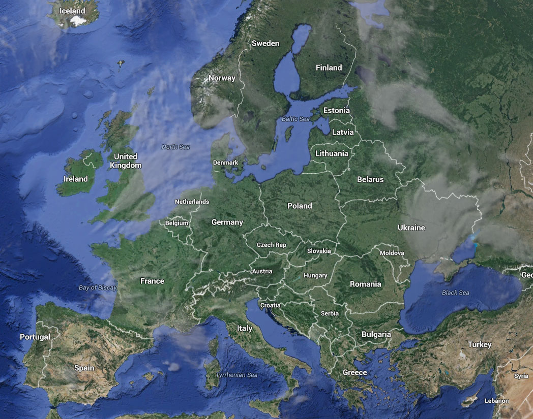 Europe : Google Earth and Google Maps