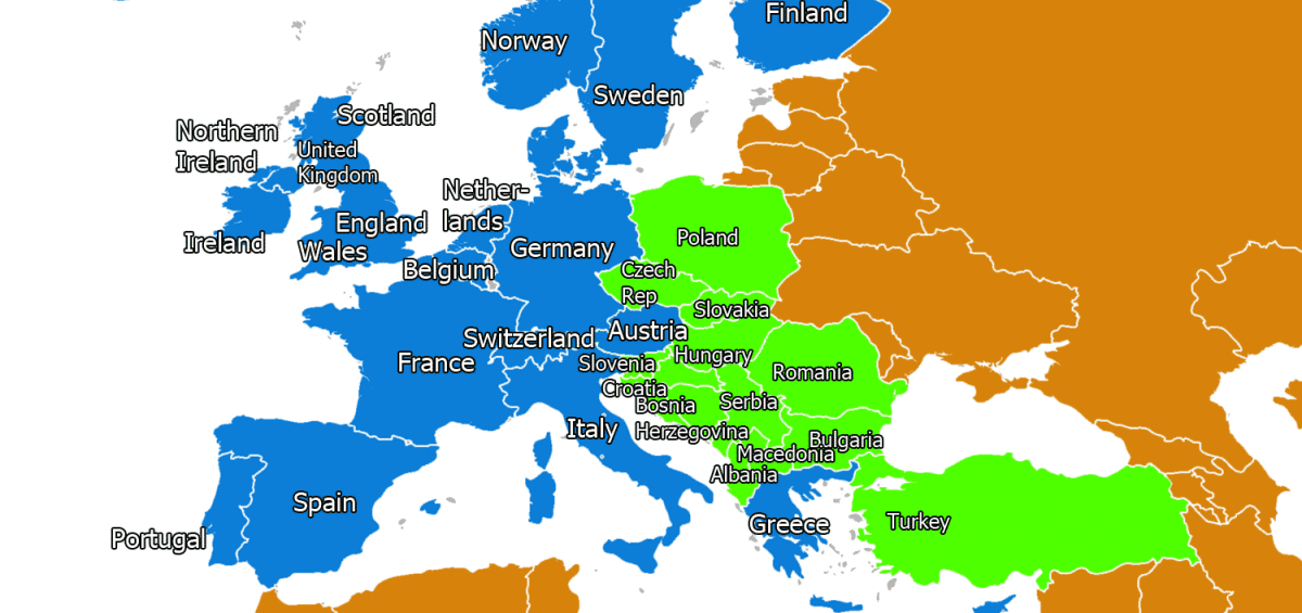 Map of Western Europe