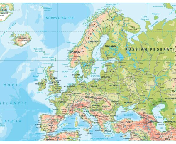 Road map of Europe (Including Highways)