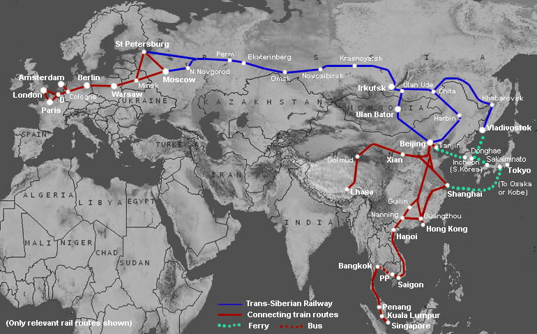 map of train ride from London to Singapore