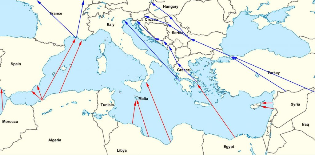 Map of regugee Routes into Europe