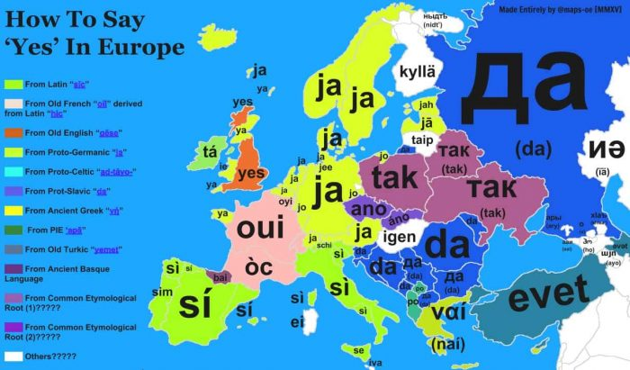 map of how to say yes in Europe