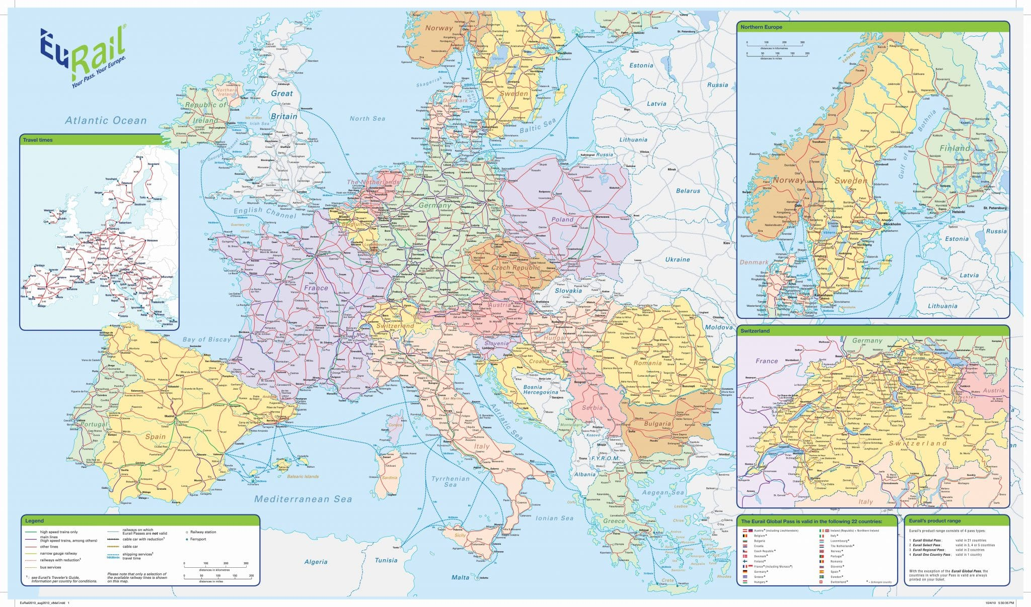 Euro Rail Map Eurail Map | Map of Europe | Europe Map Euro Rail Map