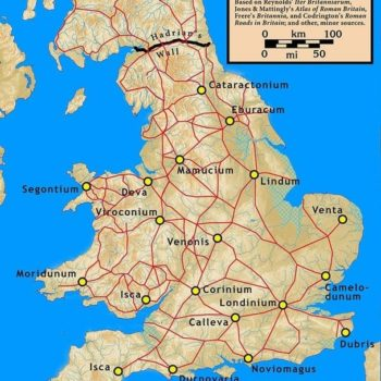 Map of Roman Cities and Roads in Ancient Britain