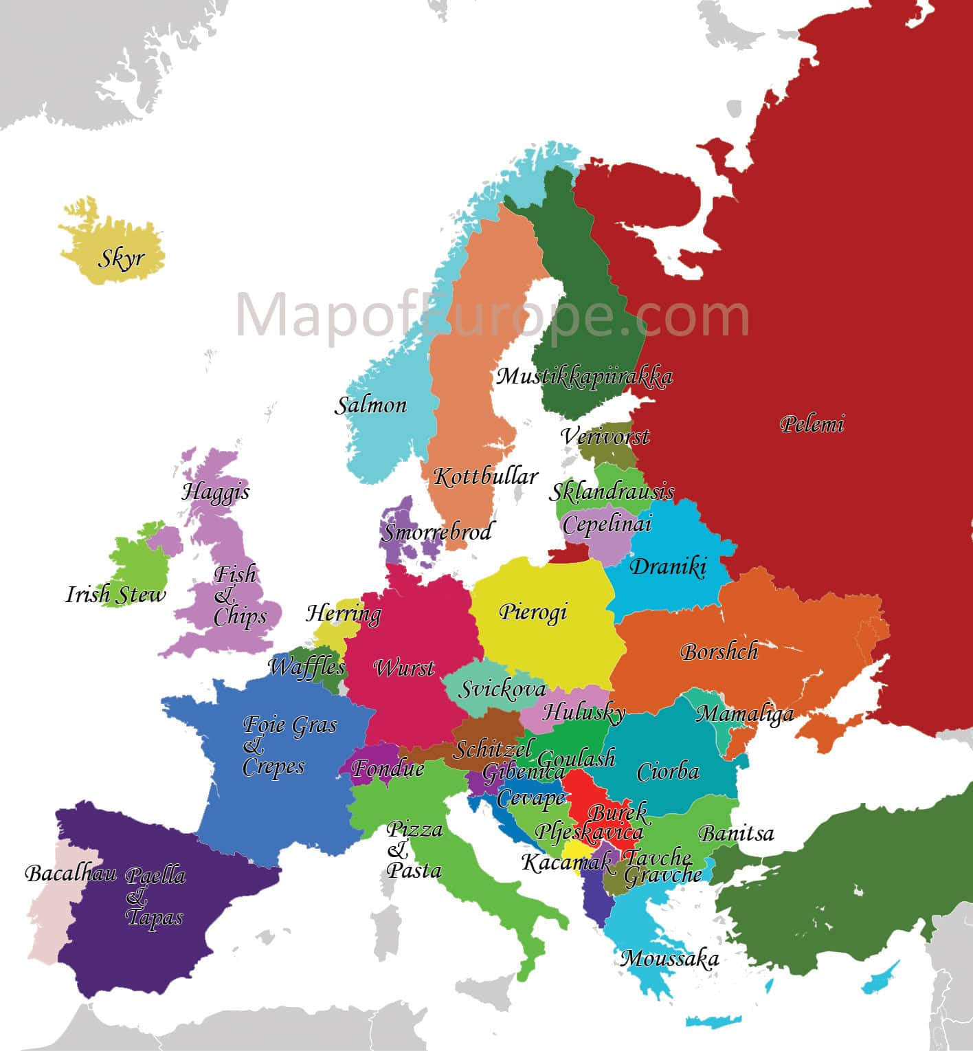 Europe Map of National Dishes