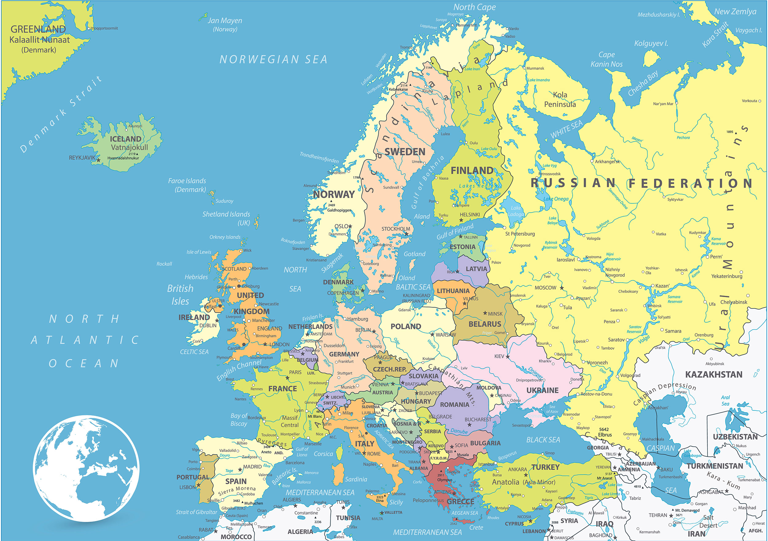 Political Map of Europe from mapofeurope.com
