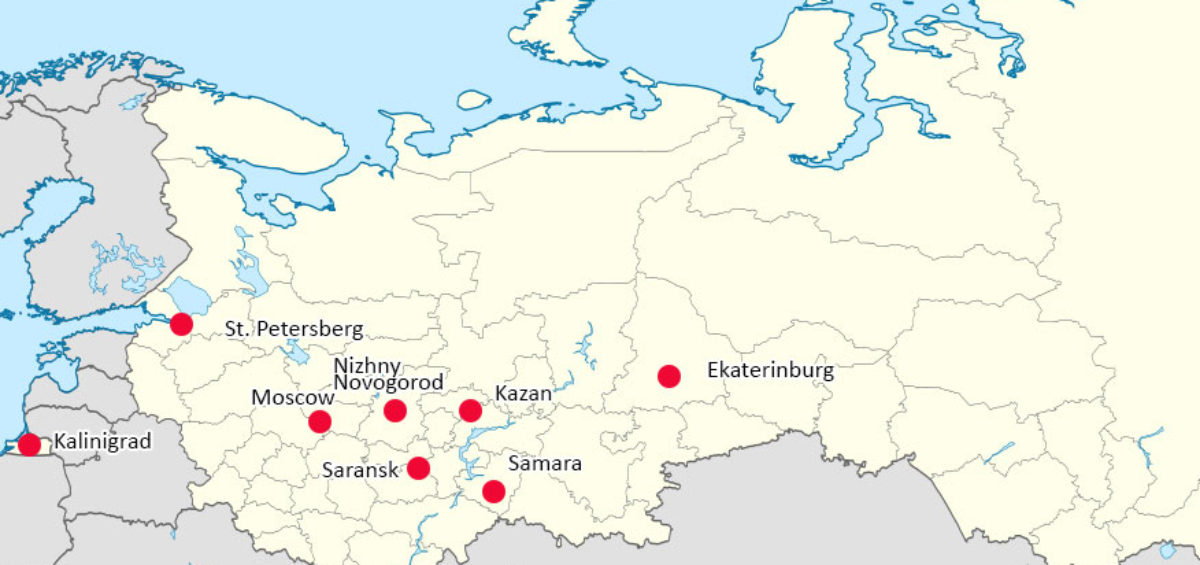 World Cup 2018 Russia - Map of Cities with Venues.