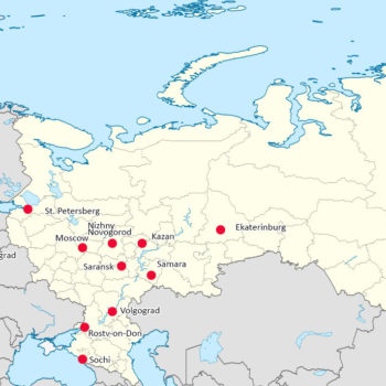 World Cup 2018 Russia – Map of Cities with Venues.