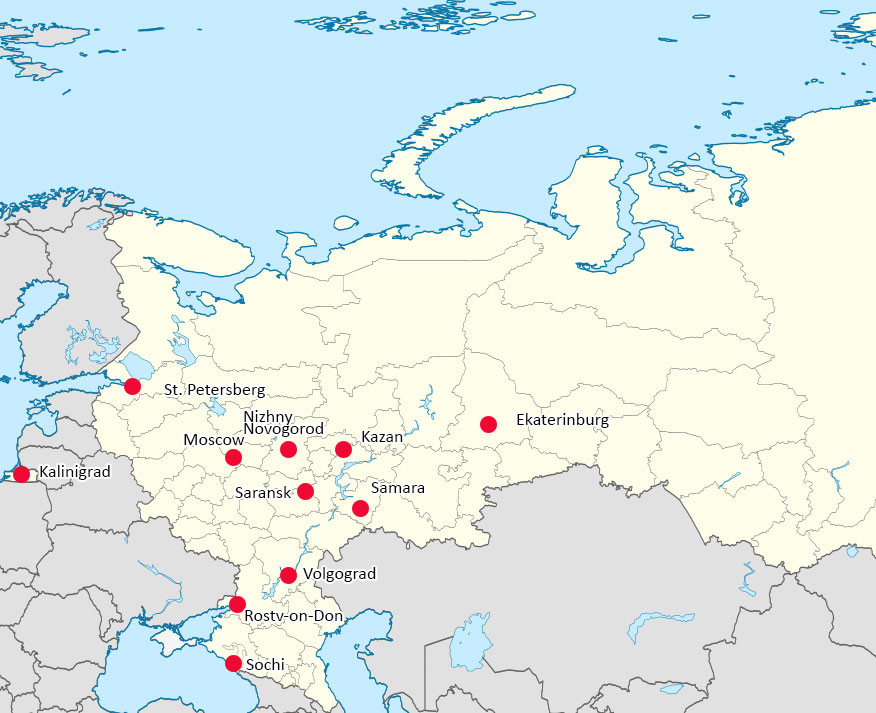 World Cup 2018 Russia – Map of Cities with Venues. | Map of Europe ...