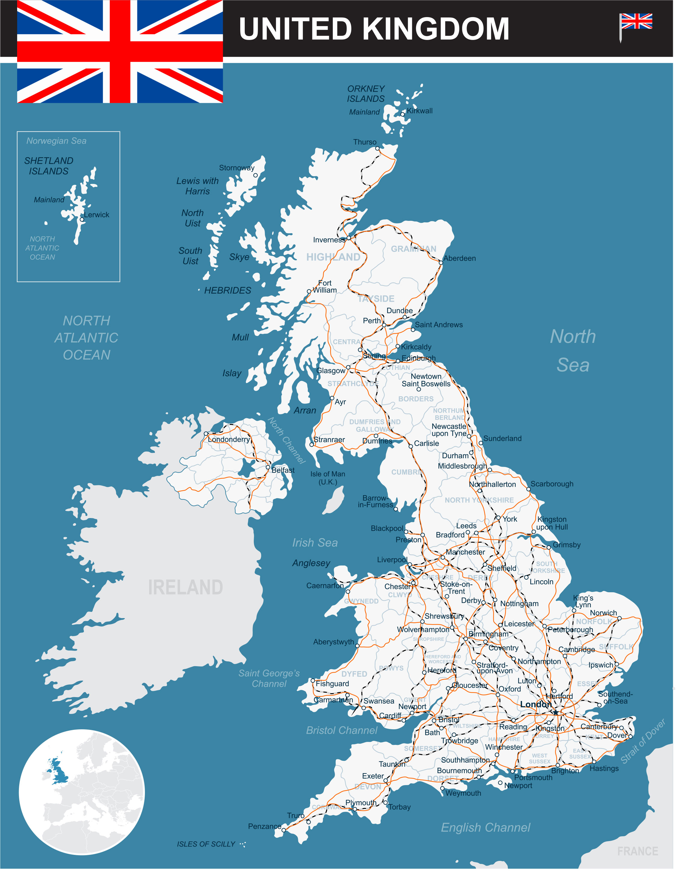 A Map Of Uk.Uk Map Map Of Europe Europe Map