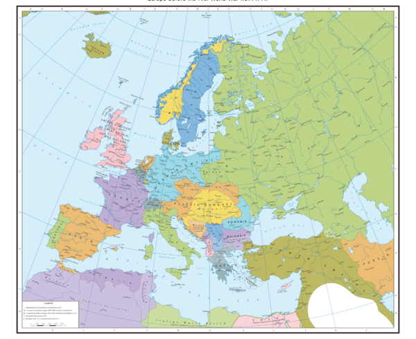 Map of Europe pre World War 1