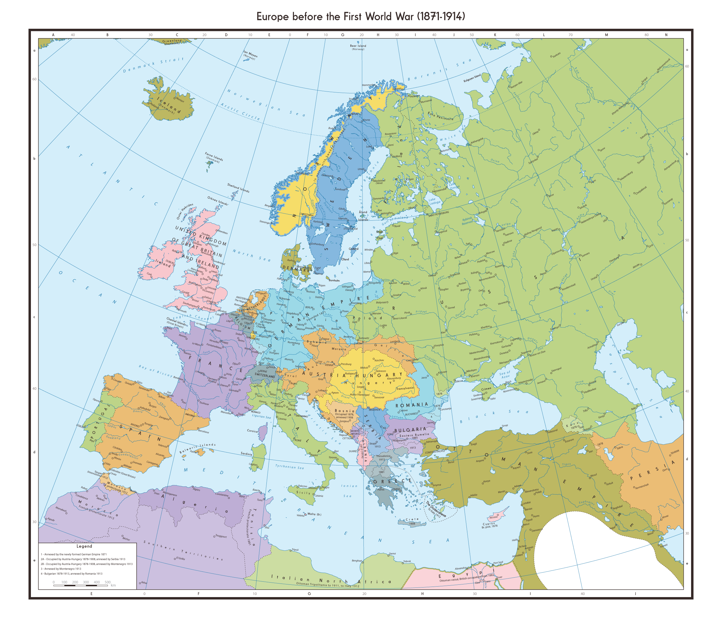 Map of Europe Pre World War One