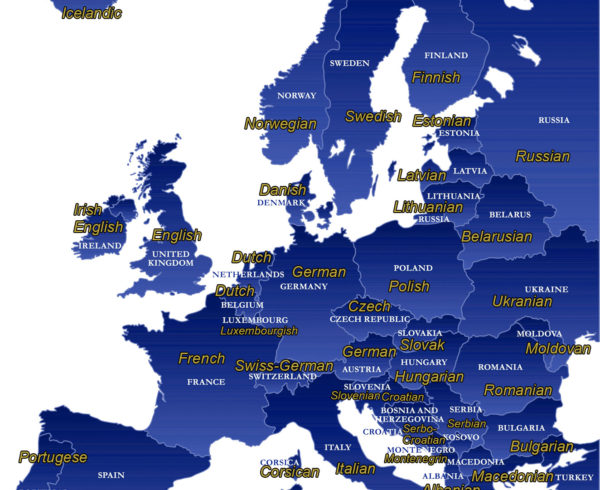 Map of official languages of Europe