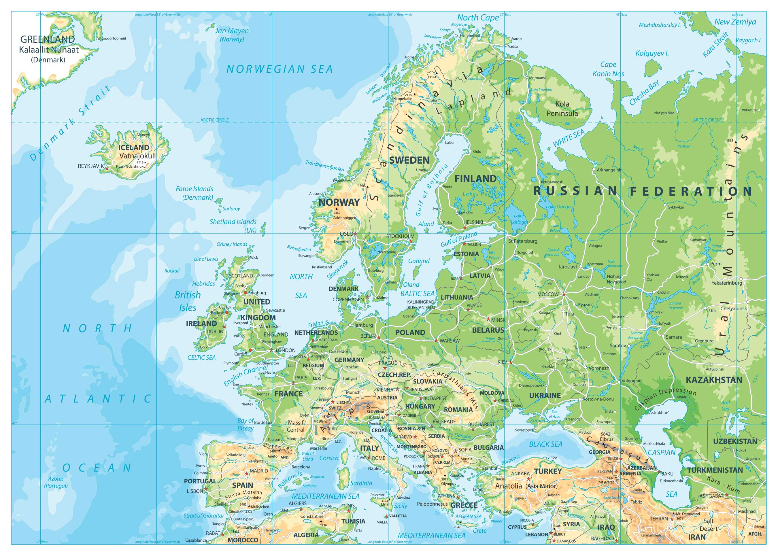 Physical Map of Europe | Map of Europe | Europe Map