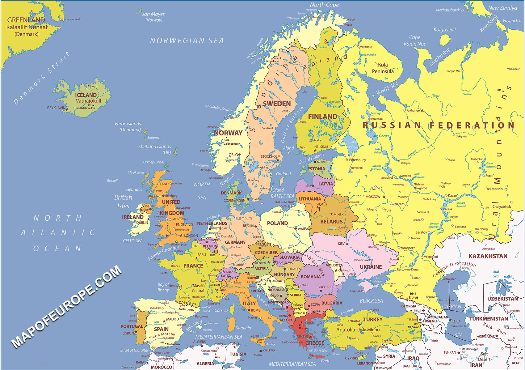Western Europe Physical And Political Map.Europe Map 2020 Map Of Europe Europe Map